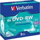 Verbatim 4x DVD-RW-levy, Single Layer (4,7 Gt), 5 kpl jewel