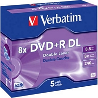 Verbatim 8x DVD+R-levy, Double Layer (8,5 Gt 240 min), 5 kpl